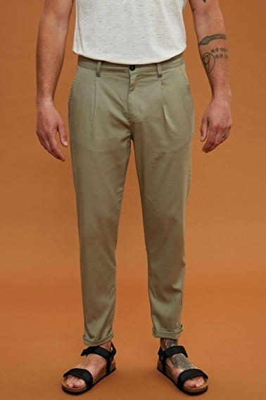 DeFacto Casual Tapered Fit Chino Pantolon Gri